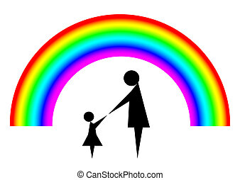 Mother and child with rainbow