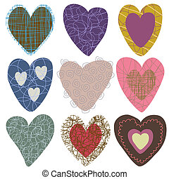 Collection of hand-drawn hearts