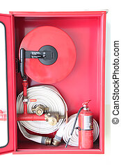 Firefighting equipment in the cabinet. - The RED...