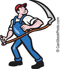 granjero, trabajador, tenencia, guadaña, caricatura