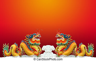 Twain chinese dragon with red background - Twain chinese...