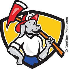 Dog Fireman Firefighter Fire Axe Shield Cartoon -...