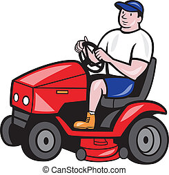 Gardener Mowing Rideon Lawn Mower Cartoon - Illustration of...