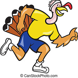 Turkey Run Runner Side Cartoon - Illustration of a wild...