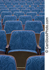 blue theatre - empty blue wooden cinematheater seats, nice...