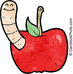 cartoon apple with worm