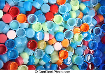 In many colors bottle caps - In many colors bottle caps with...