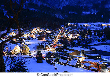 World Heritage, Light up of Shirakawago, Japan