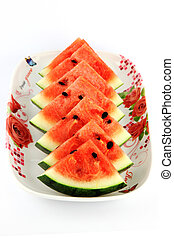 Watermelon which are sliced into on dish - The Focus...