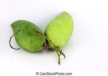A Green mango on white Background.