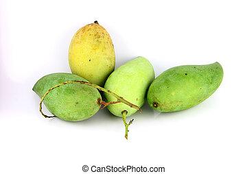 A Green mango on white Background.