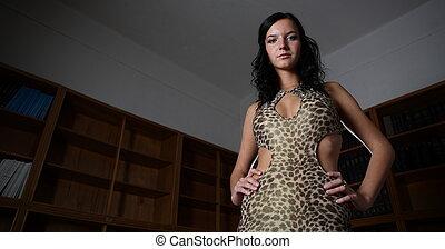 Portrait of very attractive brunette