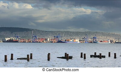 Container Ship and Port Activity ti - Time Lapse Gantry...