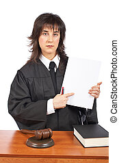 Female judge points to blank court order - A female judge...