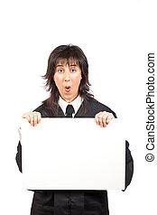 Surprised judge behind the blank card