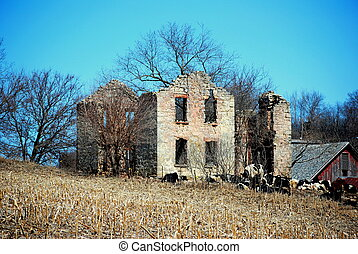 Stone roofless barn - Abandoned stone house with trees...