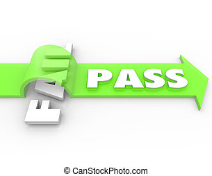 Pass Vs Fail Arrow Over Word Grade Test Quiz Result - Pass...