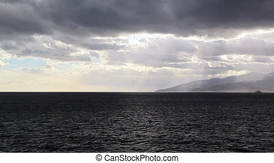 Clouds over Strait of Messina Italy