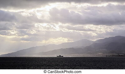 Ship in the Strait of Messina Italy