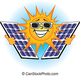Solar Voltaic Panels - Illustration of a bright sun holding...