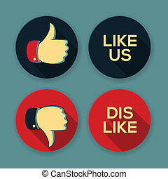 Like us and Dislike symbols - Thumbs Up and Thumbs Down,...