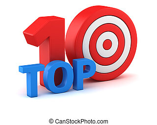Top ten - Word Top 10 with dartboard on white background