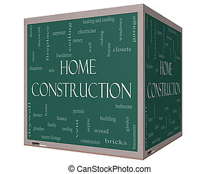Home Construction Word Cloud Concept on a 3D cube Blackboard