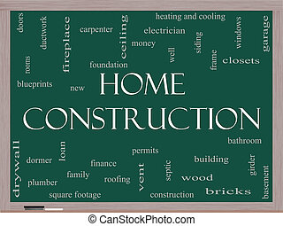 Home Construction Word Cloud Concept on a Blackboard with...