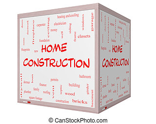 Home Construction Word Cloud Concept on a 3D cube Whiteboard...