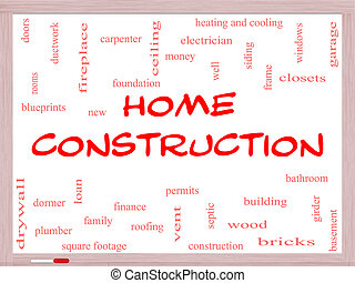 Home Construction Word Cloud Concept on a Whiteboard with...