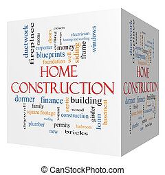 Home Construction 3D cube Word Cloud Concept with great...