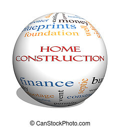 Home Construction 3D sphere Word Cloud Concept with great...