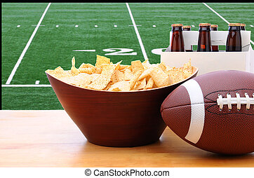 Chips, football and Six Pack of Beer and TV - Chips,...