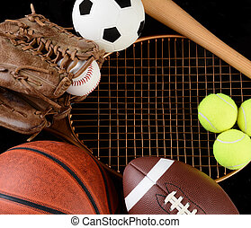 Sports equipment - High angle view of a group of assorted...
