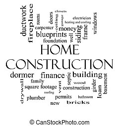 Home Construction Word Cloud Concept in black and white with...