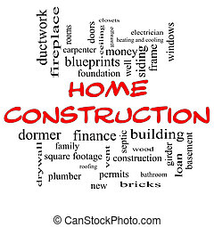 Home Construction Word Cloud Concept in red caps with great...