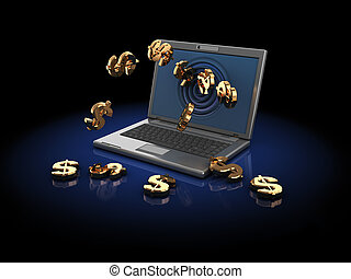 money from internet - 3d illustration of computer with...