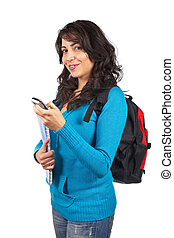 Student woman sending sms - Young student woman with...