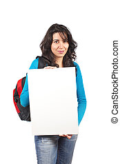 Holding the blank card - Young student woman with a backpack...