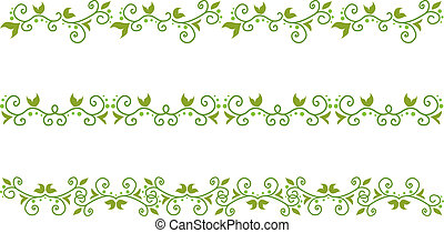 green floral border - Set of green floral border