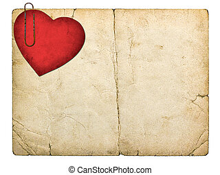 old paperboard card with red paper heart