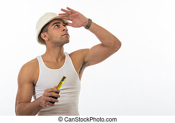 Physically fit attractive Hispanic construction worker