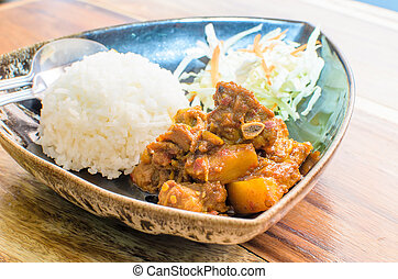 Thailand Northern Style Hang Lay Pork Curry with boiled rice