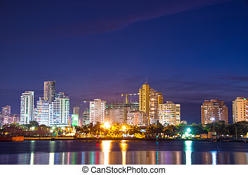 Modern Cartagena at Night - Nighttime view of the modern...
