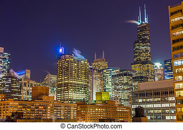 Chicago at Night - View of Chicago skyscrapers at nighttime