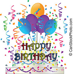 Happy Birthday cake with confetti vector