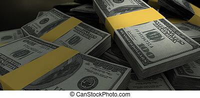 nós, dólar, notas, disperso, pilha, closeup