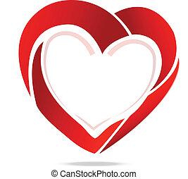 ロゴ, シンボル,  swoosh, 愛, 心