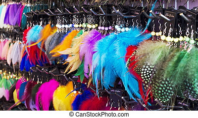 colorful of Jewelry feather earring stock photo