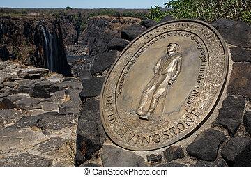 David Livingstone Plaque - Victoria Falls, Africa - David...